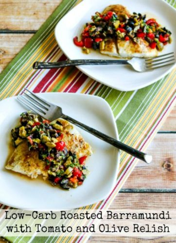 Low-Carb Roasted Barramundi with Tomato and Olive Relish