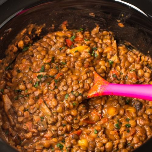 Cheesy slow cooker lentils