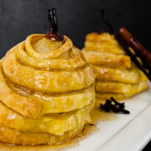 Honey puff-pastry wrapped pears