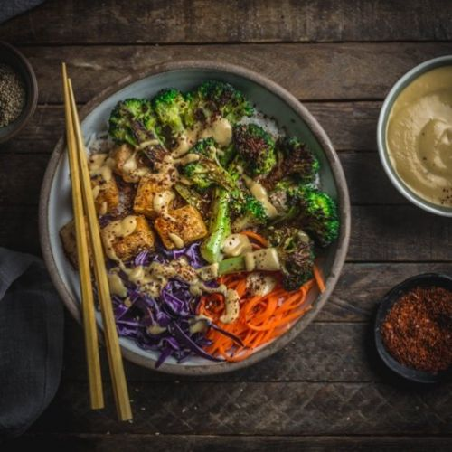 Tofu and Charred Broccoli Bowls