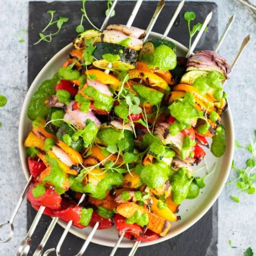 Rainbow Veggie Kebabs with Chimichu