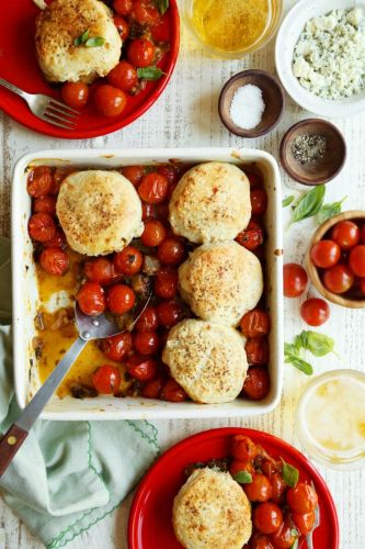 Tomato Pie with Blue Cheese Biscuits