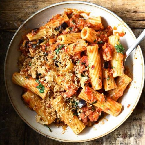 Eggplant Tomato Pasta with Bacon