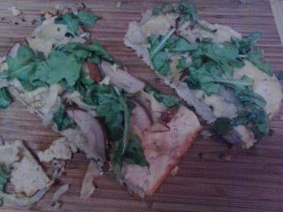 Beer pizza.with fennel, leeks, pears, gouda, and arugula, because of course