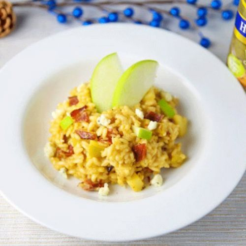 Apple Bacon and Gorgonzola Risotto