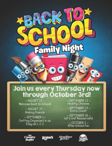 Ovation Brands and Furr's Fresh Buffet Make Going Back to School Fun with Newest Family Night Program, August 22