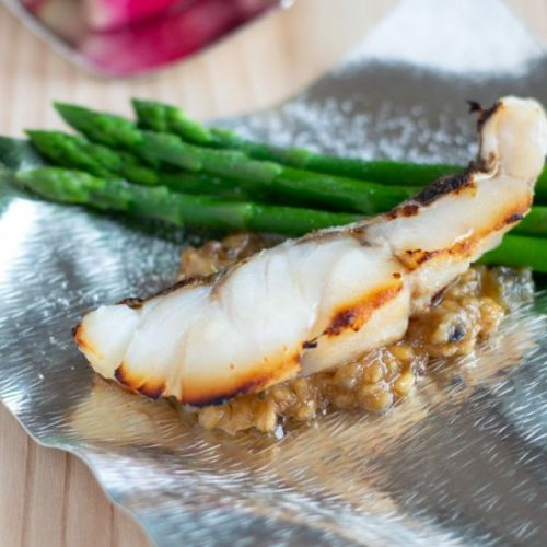 Miso-Marinated Fish with Asparagus