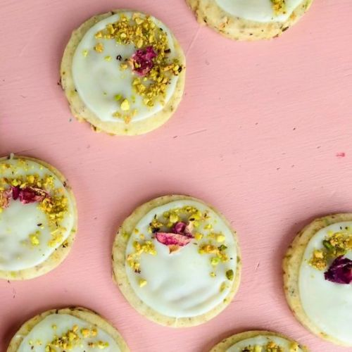 Pistachio rose shortbread cookies