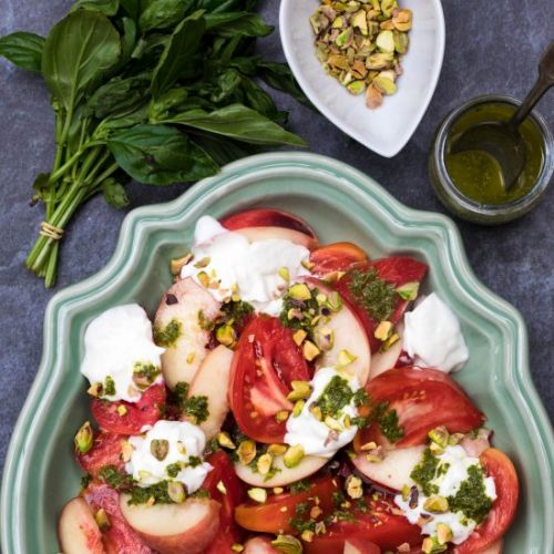 Burrata Caprese with Peaches