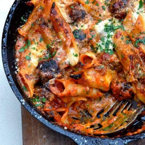 Chipotle Meatball Pasta Bake