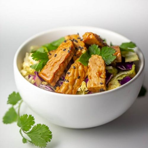 Sesame Tempeh and Cabbage Salad