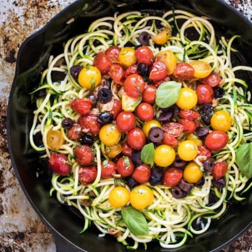 Zucchini Pasta with Tomato & Olives