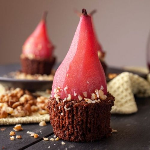 Red Wine Poached Pears Brownie