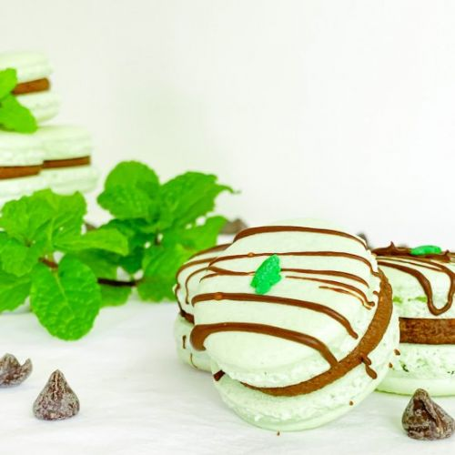 Peppermint Cocoa Macarons