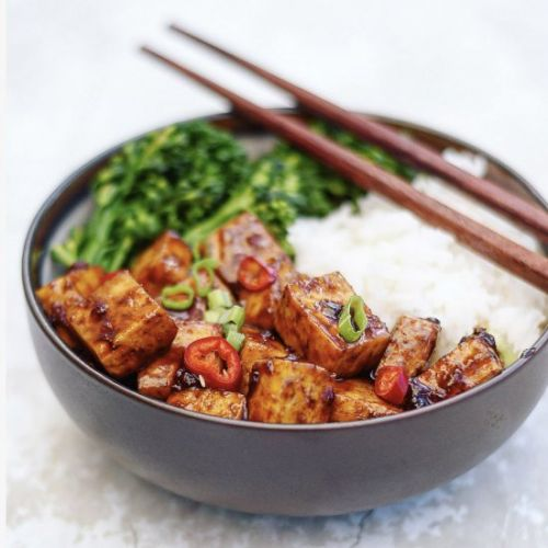 Spicy Asian BBQ Tofu Bowls