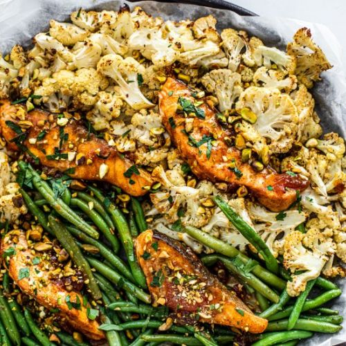 Sheet pan salmon + moroccan apricot