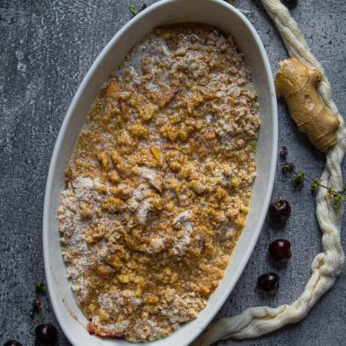 Nectarine and Cherry Crisp