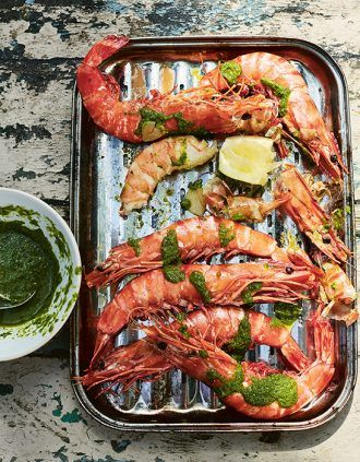 Giant Prawns With Preserved Lemon, Herbs, and Brandy