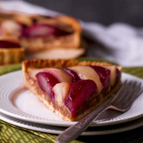 Pear Tart with Wine Poached Pears