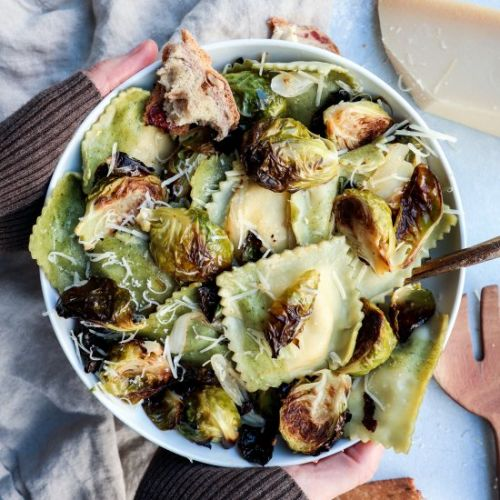 Roasted brussel sprout ravioli