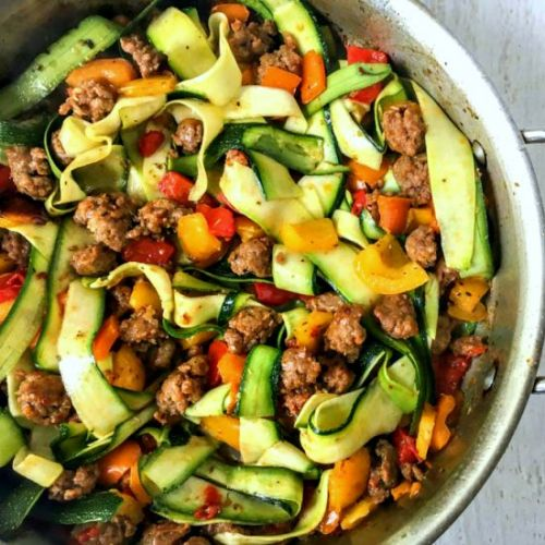 Wide Zucchini Noodles with Sausage