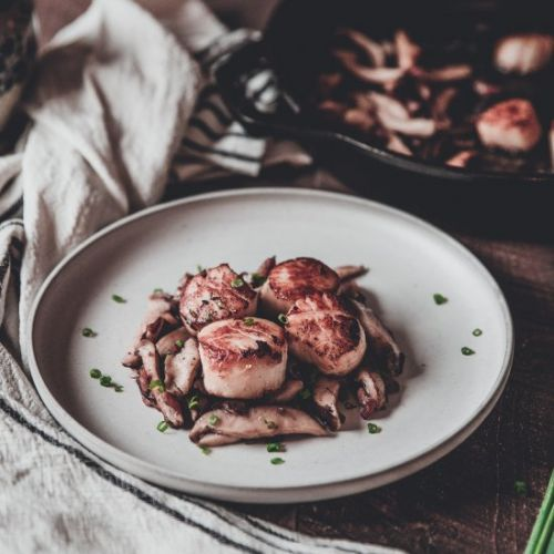 Scallops with Bacon and Mushrooms