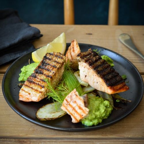 GRILLED SALMON WITH CARAMELISED FEN