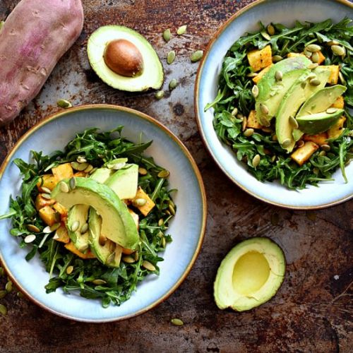 Sweet Potato Avocado Arugula Salad