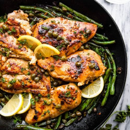 Chicken Piccata with Green Beans