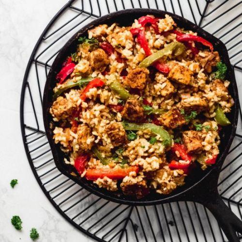 Cajun Tempeh and Rice Skillet