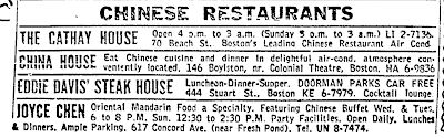The First Restaurants in Boston's Chinatown: The 1960s