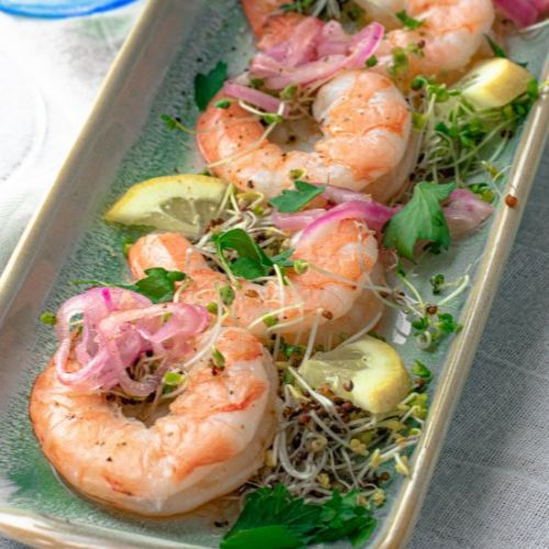 Cold Poached Shrimp in White Wine
