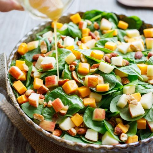 Spinach Salad with Apple & Cheddar