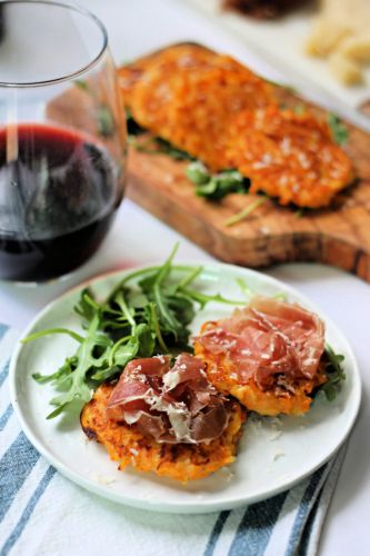 Prosciutto Topped Butternut Squash Fritters