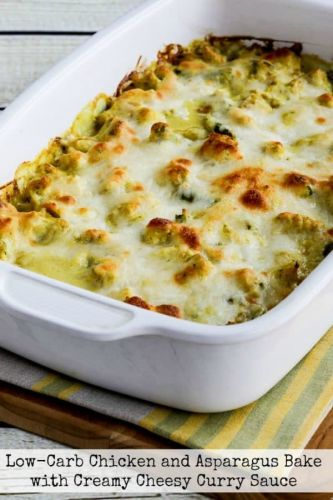 Low-Carb Chicken and Asparagus Bake with Creamy Cheesy Curry Sauce