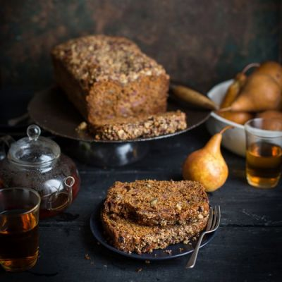 Pear and halva crumble loaf