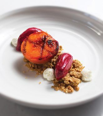 Negroni-Poached Peaches with Crumble