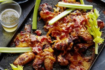 Bacon Cheddar Buffalo Wings. They are pretty much my new favorite game ...