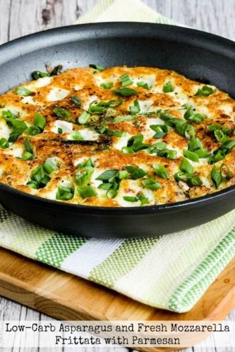 Low-Carb Asparagus and Fresh Mozzarella Frittata with Parmesan