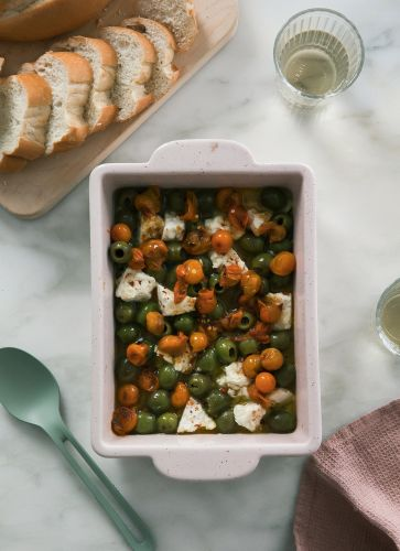 Gooey Baked Feta with Olives and Cherry Tomatoes