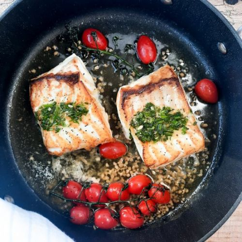 One Pan Halibut with Chive Pistou