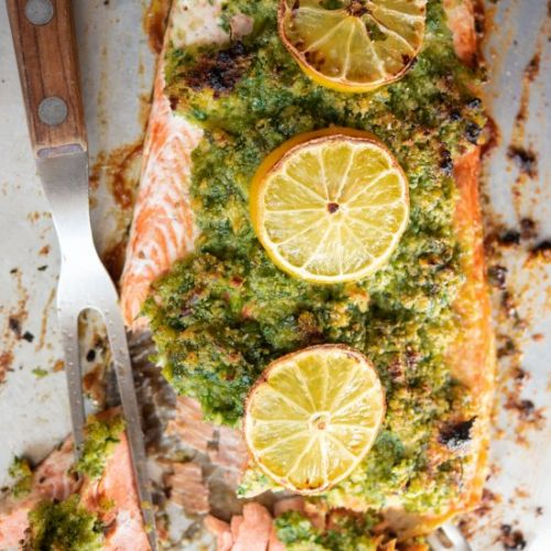 Baked Salmon with Parsley Crust