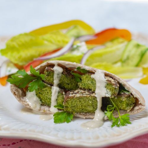 Lower fat sesame falafel