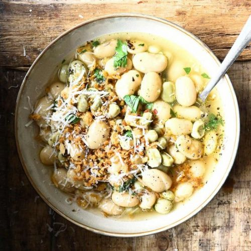 Brothy Beans with Garlic and Parm