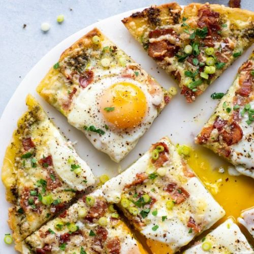 Bacon Pesto Breakfast Pizza