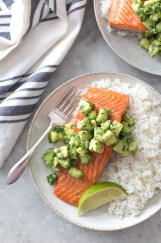 Salmon with Avocado-Cucumber Salsa