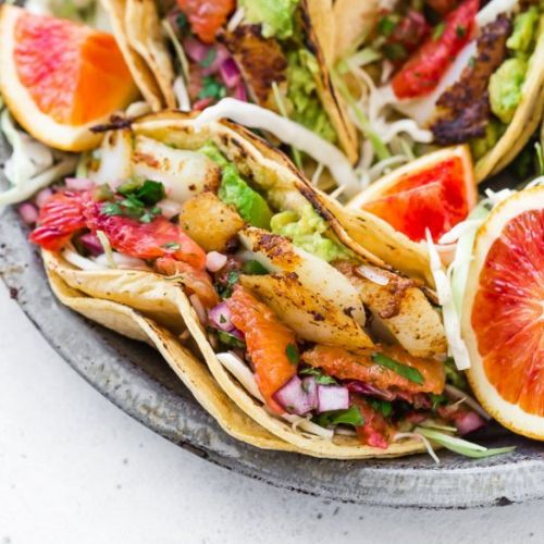 Fish Tacos with Blood Orange Salsa