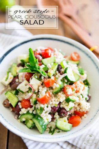 Greek Style Pearl Couscous Salad