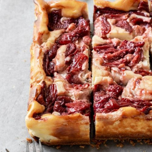 Roasted Strawberry Cheesecake Bars