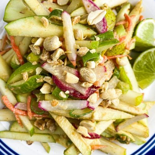 Pear & Apple Salad w/ Peanut Sauce